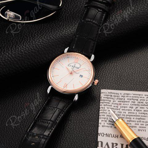 Online OUKESHI Faux Leather Strap Date Minimalist Watch - BLACK  Mobile
