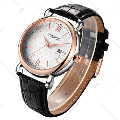 Cheap OUKESHI Faux Leather Strap Date Minimalist Watch - BLACK  Mobile