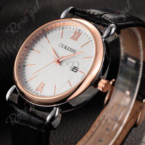 Discount OUKESHI Faux Leather Strap Date Minimalist Watch - BLACK  Mobile
