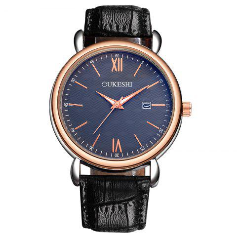 Outfit OUKESHI Faux Leather Strap Date Minimalist Watch - BLUE AND BLACK  Mobile