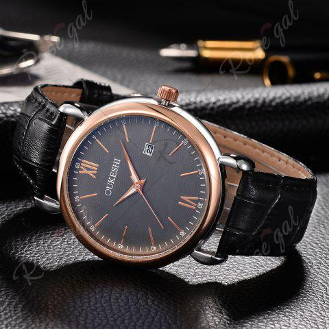 Online OUKESHI Faux Leather Strap Date Minimalist Watch - BLUE AND BLACK  Mobile