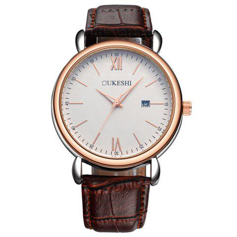 Discount OUKESHI Faux Leather Strap Date Minimalist Watch BROWN