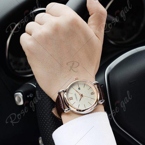 Hot OUKESHI Faux Leather Strap Date Minimalist Watch - BROWN  Mobile