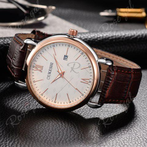 Buy OUKESHI Faux Leather Strap Date Minimalist Watch - BROWN  Mobile