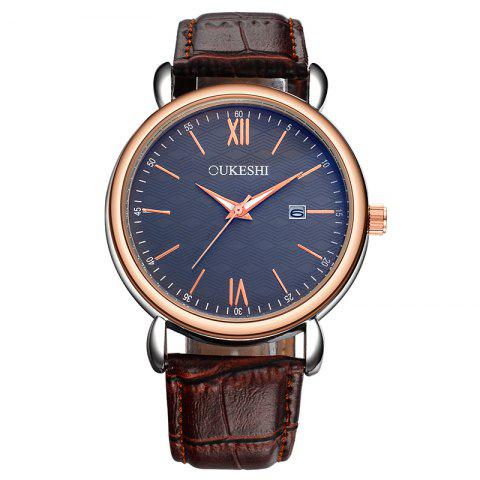 OUKESHI Faux Leather Strap Date Minimalist Watch Bleu + Brun