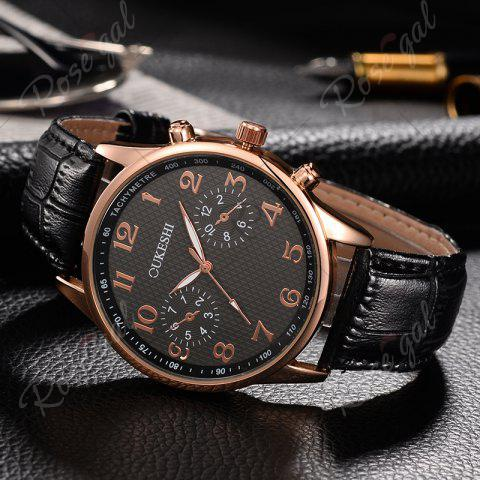 Sale OUKESHI Tachymeter Number Faux Leather Strap Watch - BLACK  Mobile