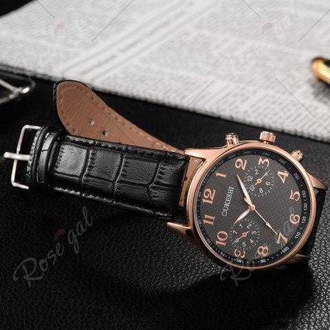 Online OUKESHI Tachymeter Number Faux Leather Strap Watch - BLACK  Mobile