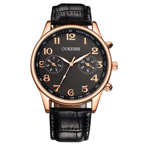 OUKESHI Tachymeter Number Faux Leather Strap Watch