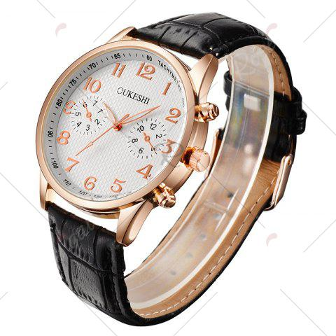 Shop OUKESHI Tachymeter Number Faux Leather Strap Watch - WHITE AND BLACK  Mobile