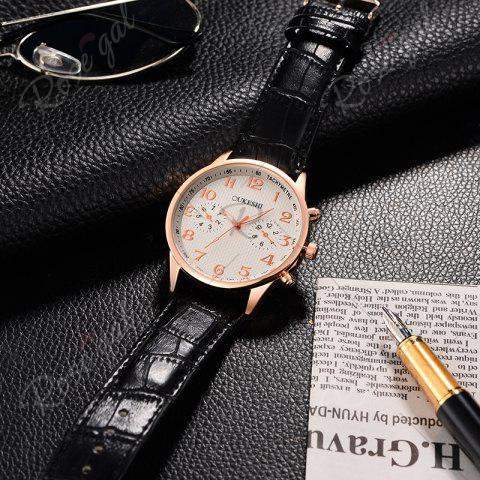 Fashion OUKESHI Tachymeter Number Faux Leather Strap Watch - WHITE AND BLACK  Mobile