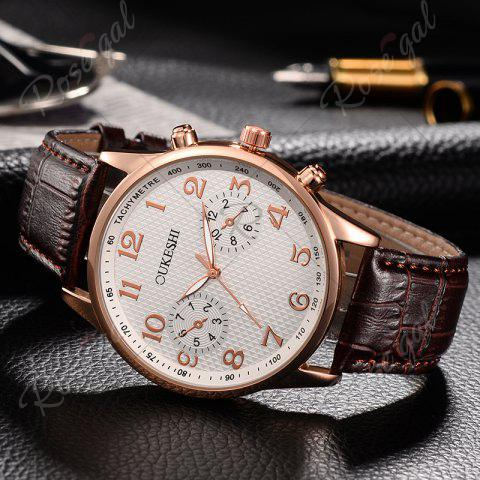 Fashion OUKESHI Tachymeter Number Faux Leather Strap Watch - BROWN  Mobile