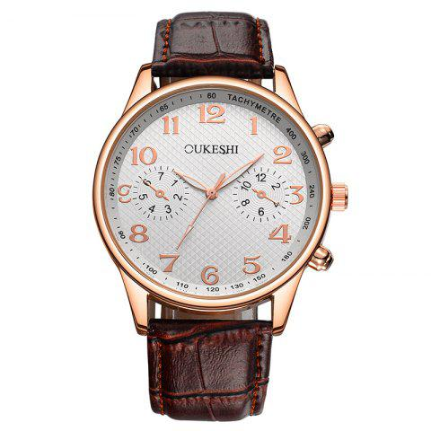Unique OUKESHI Tachymeter Number Faux Leather Strap Watch BROWN