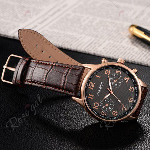 Chic OUKESHI Tachymeter Number Faux Leather Strap Watch - BLACK AND BROWN  Mobile