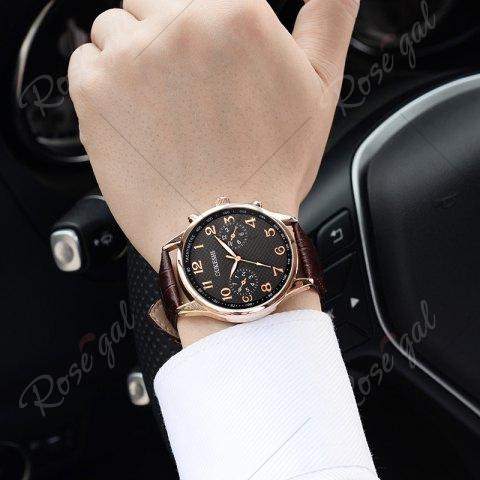 Sale OUKESHI Tachymeter Number Faux Leather Strap Watch - BLACK AND BROWN  Mobile