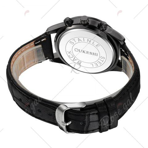Shops OUKESHI Date Number Faux Leather Strap Watch - BLACK  Mobile