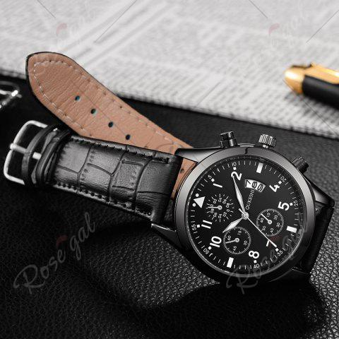 Hot OUKESHI Date Number Faux Leather Strap Watch - BLACK  Mobile