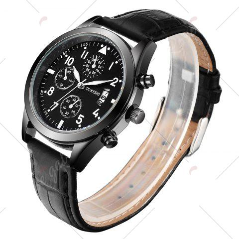 Store OUKESHI Date Number Faux Leather Strap Watch - BLACK  Mobile