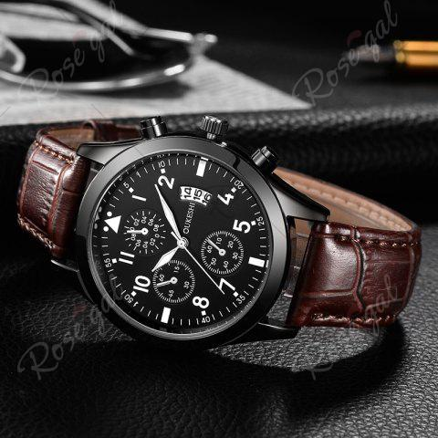 Hot OUKESHI Date Number Faux Leather Strap Watch - BROWN  Mobile