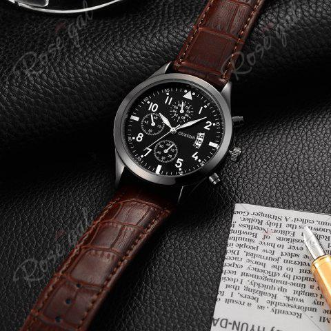 Shops OUKESHI Date Number Faux Leather Strap Watch - BROWN  Mobile