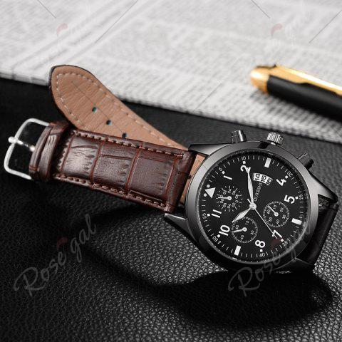 Fashion OUKESHI Date Number Faux Leather Strap Watch - BROWN  Mobile
