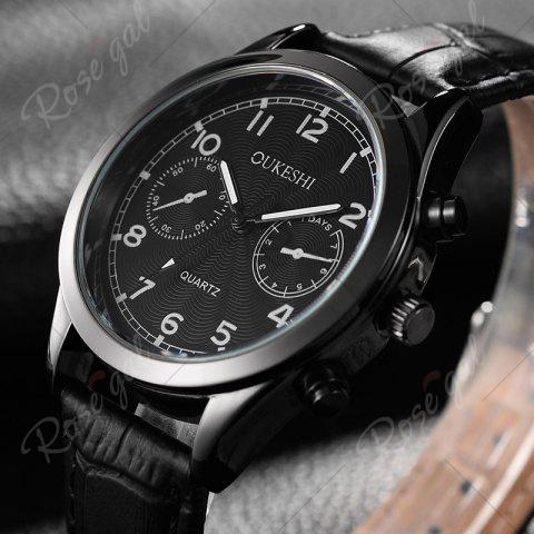 Store OUKESHI Faux Leather Strap Number Analog Watch - BLACK  Mobile