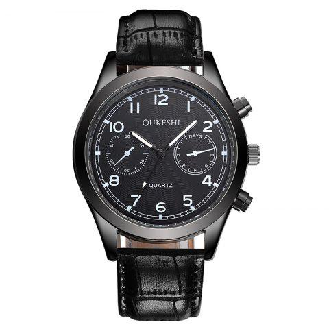 Fashion OUKESHI Faux Leather Strap Number Analog Watch BLACK