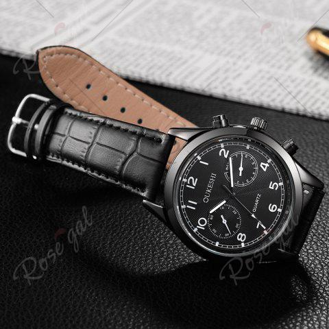 New OUKESHI Faux Leather Strap Number Analog Watch - BLACK  Mobile