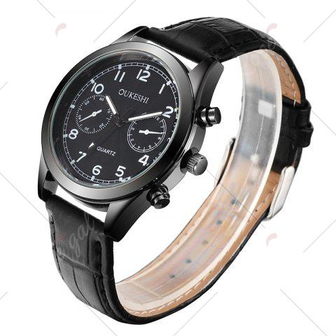 Shops OUKESHI Faux Leather Strap Number Analog Watch - BLACK  Mobile