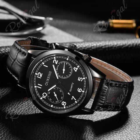 Outfits OUKESHI Faux Leather Strap Number Analog Watch - BLACK  Mobile