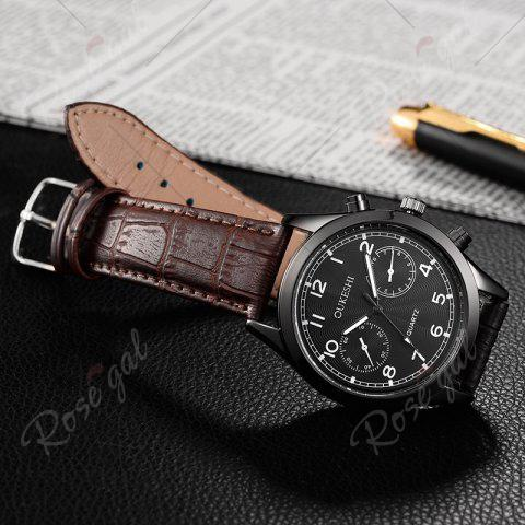 Store OUKESHI Faux Leather Strap Number Analog Watch - BROWN  Mobile