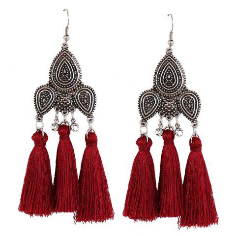 New Rhinestone Tassel Teardrop Gypsy Earrings RED