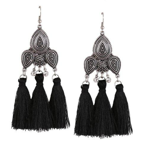 Rhinestone Tassel Teardrop Gypsy Earrings - Black - S