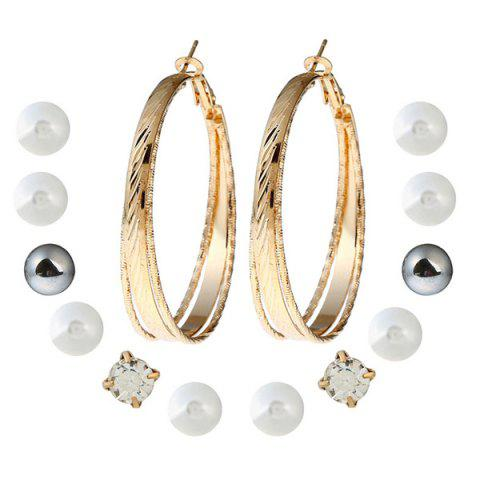 Faux Pearl Circle Stud Hoop Earring Set - Golden - One-size