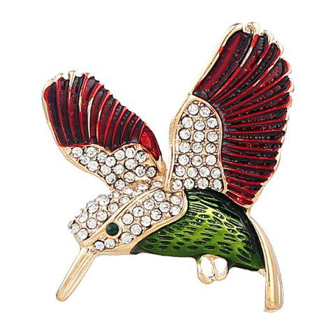 Hot Rhinestoned Fly Bird Brooch - RED  Mobile