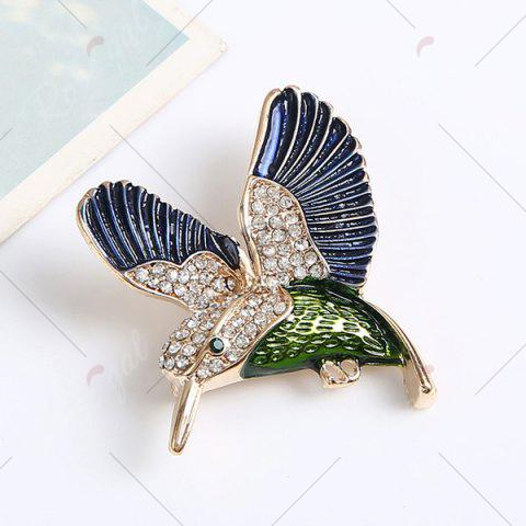 Outfits Rhinestoned Fly Bird Brooch - BLUE  Mobile