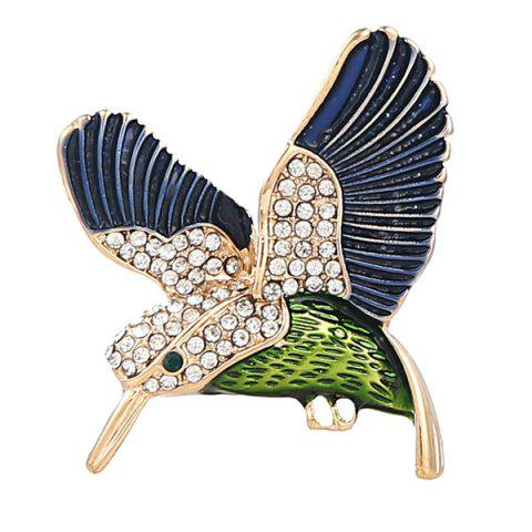 Fashion Rhinestoned Fly Bird Brooch - BLUE  Mobile