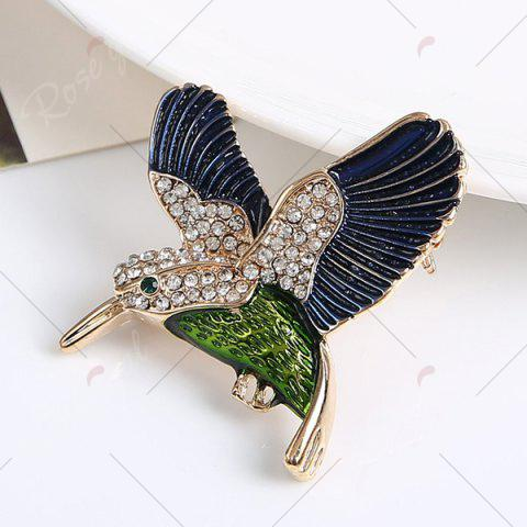 Cheap Rhinestoned Fly Bird Brooch - BLUE  Mobile