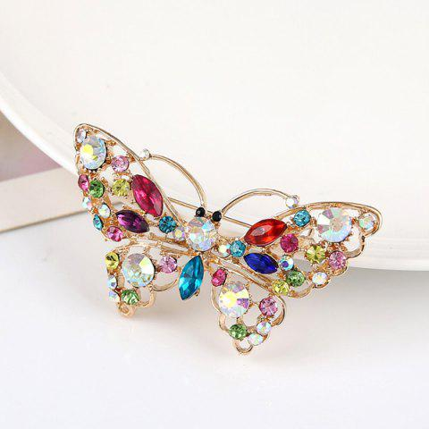 Outfits Faux Crystal Rhinestone Butterfly Brooch - COLORMIX  Mobile