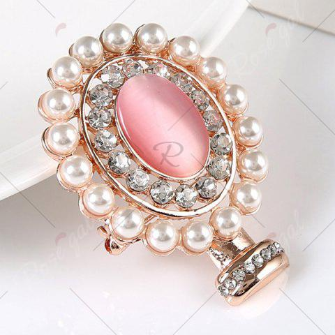 Store Rhinestone Faux Pearl Oval Brooch - GOLDEN  Mobile