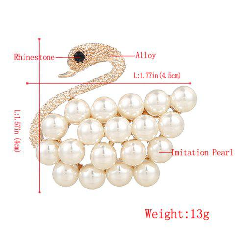 Discount Faux Pearl Rhinestone Goose Brooch - GOLDEN  Mobile