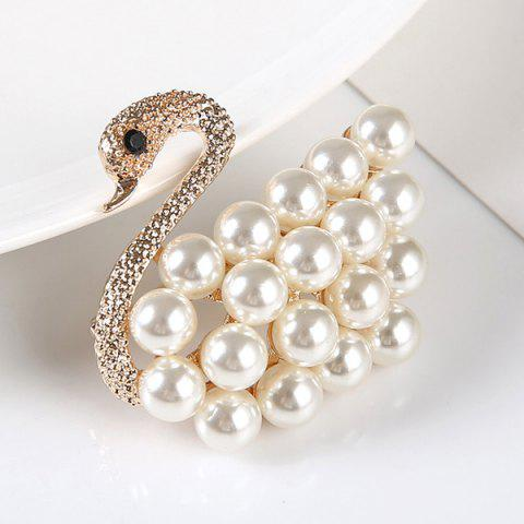 Hot Faux Pearl Rhinestone Goose Brooch - GOLDEN  Mobile