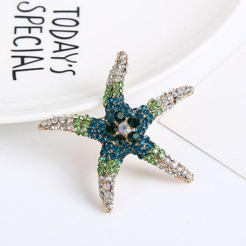 Fancy Rhinestone Starfish Cute Brooch - DEEP BLUE  Mobile