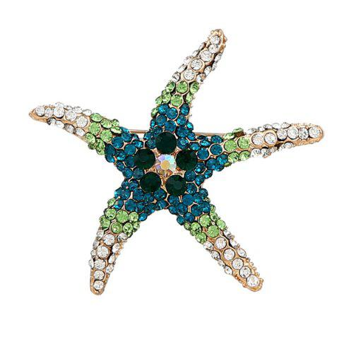 Trendy Rhinestone Starfish Cute Brooch - DEEP BLUE  Mobile