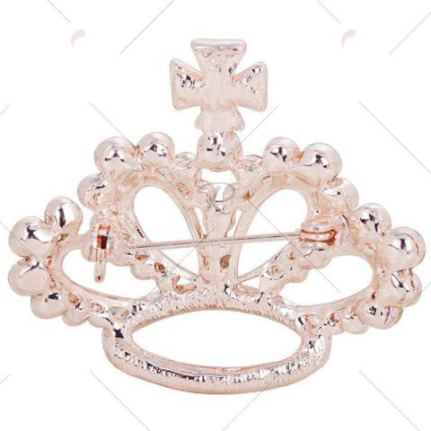 Store Rhinestone Inlaid Hollow Out Crown Brooch - WHITE  Mobile