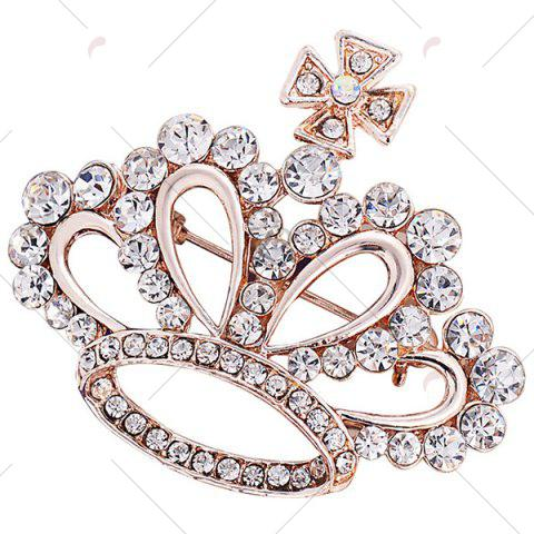 Fancy Rhinestone Inlaid Hollow Out Crown Brooch - WHITE  Mobile