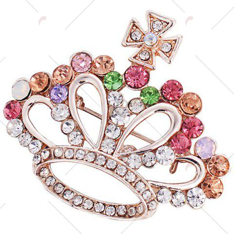 Store Rhinestone Inlaid Hollow Out Crown Brooch - RED  Mobile