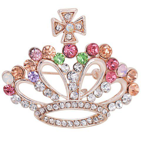 Fancy Rhinestone Inlaid Hollow Out Crown Brooch RED
