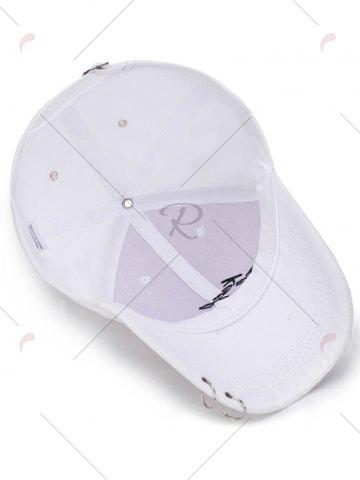 Fashion Letters Embroidery Double Metal Circle Baseball Cap - WHITE  Mobile