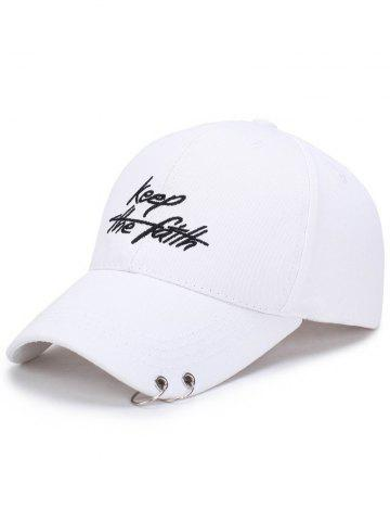 Outfit Letters Embroidery Double Metal Circle Baseball Cap - WHITE  Mobile