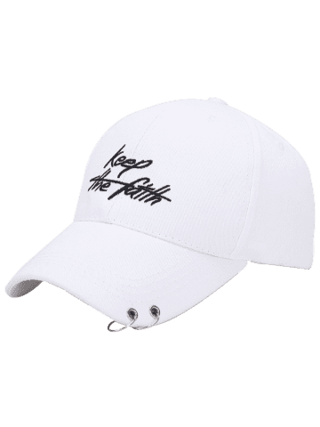 Chic Letters Embroidery Double Metal Circle Baseball Cap - WHITE  Mobile